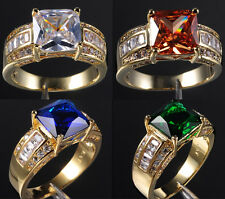 Size 9-13 Deluxe Jewelry Yellow Gold Filled Various Stone Mens Band Ring gift