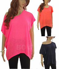 Neon Summer Beach Festival Boho Slouch Oversized Plus Size Batwing T Shirt Top