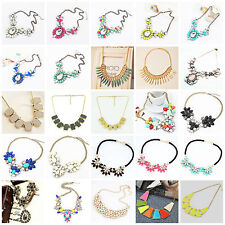 Womens Crystal Statement Bib Pendant Choker Collar Chain Necklace Party Jewelry