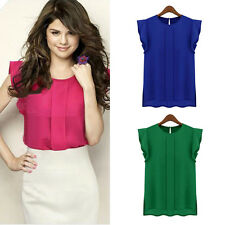 1PC Womens Casual Loose Chiffon Short Tulip Sleeve Blouse Shirt Tops Excellent