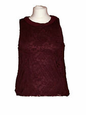 Ex NEW LOOK Ladies Floral Lace Top PETER PAN COLLAR Sleeveless TOP Size: 6- 16