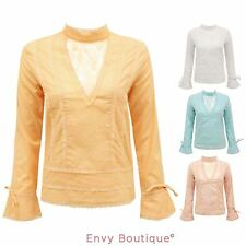WOMENS LADIES VINTAGE LONG SLEEVE COTTON EMBROIDERED FLOWER TOP SHIRT BLOUSE