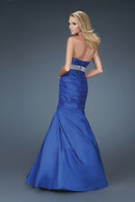 VIBRANT BEADED PROM PARTY BRIDESMAID OR WEDDING DRESS TAFFETA SIZE 4 TO 30