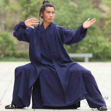 Customize Linen Wudang Tai chi Uniform With Long Vest Shaolin Kung fu Robe Suit