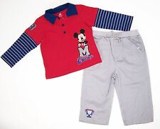 Disney Mickey Mouse 2 Pc Shirt and Pant Set NWT Size  3-6  Months  Red & Gray