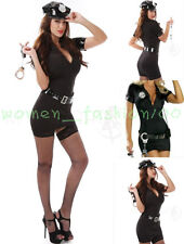 Plus SizeS-2XL Sexy Black Lady Police Halloween Costume Gothic Cop Dress Cosplay