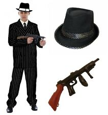Mens Gangster Fancy Dress 1920's Pin Stripe Suit Bugsy Godfather Costume Mafia