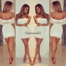 Summer Women Bandage BodyCon Lace Evening Sexy Party Cocktail Mini White Dress