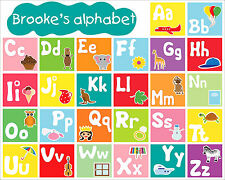 Colourful Illustrated Children's Alphabet on Canvas or Poster - Add any name