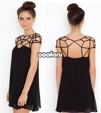 Women Casual Sexy Black Hollow Out Cut Design Sweet Chiffon Novelty Dress CO99