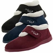 Womens Slippers Dunlop New Faux Fur Orthopedic Velcro Strap Ladies Ankle Boots