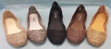 WOMEN'S LADIES FLAT JELLY BALLET SPARKLY COMFORTABLE MELISSA ROSE SHOES