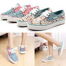 Women's Girl's Canvas Floral Lace up Flats Shoes Casual Running Sneakers Sports