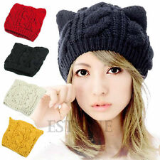 Devil Horns Cat Ear Winter Beanie Crochet Braided Knit Ski Wool Cap Hat Women
