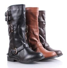 Faux Leather Cute Girls Military Mid Calf Combat Boots Kids Youth Size 9 - 4