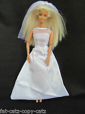 BARBIE SINDY DOLL GORGEOUS SIMPLE TRADITIONAL WHITE 2 PIECE WEDDING DRESS & VEIL