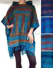 Blues STRIPE Hippy PONCHO Mexican FESTIVAL Ethnic HOODED Bathrobe Clint Eastwood