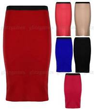 Ladies Womens Stretch Bodycon Elasticated Pencil Midi Skirt Plain Office Skirts