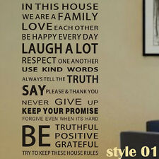 In This House We Are a Family house rules wall stickers decals art words quote