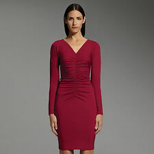 Narciso Rodriguez Limited Edition For Designation Red Ruched Sheath Dress