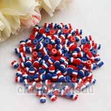5*6MM 100pc Red White Blue America Resin Spacer Striped Oval Round Beads Charm