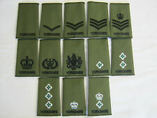 Yorkshire Regiment Rank Slides  - Olive Embroidered British Army / Military