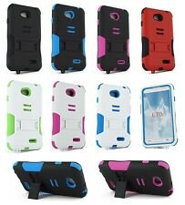 For New Boost Mobile LG Realm LS620 Heavy Duty Hard Hybrid Kickstand Case Cover