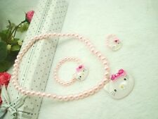 Cute HelloKitty Pearl Beads  Necklace ,Bracelet & Ring Girl Jewelry Set