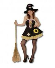 Womens Patchwork Witch Fancy Dress Costume Halloween Bewitched Hat Mini Sexy