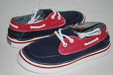 NEW NWT CROCS HOVER BOAT CANVAS lace shoes 7 8 9 10 11 12 men NAVY WHITE RED
