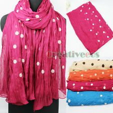 Art Style 2 Kind Of Line Embroidery Dot Crinkle Chiffon Oblong Shawl Scarf New