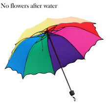 Colorful Change to Flower Flouncing Parasol Folding Sun/Rain Windproof Umbrella