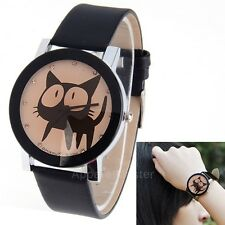 Cute Cartoon Cat Synthetic Leather Watches Waterproof Wristwatches Hours for AM