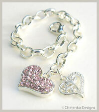 BR12_Silver Plated Pink Double Heart Girl Child Kid Clip Link on Charm Bracelet
