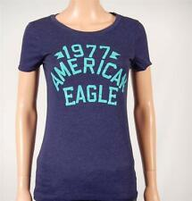 American Eagle Outfitters AE Signature Graphic Tee Womens Navy Blue T-Shirt NWT