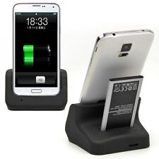 Dual Battery & Phone Charger Dock Charging Holder For Samsung Galaxy S5 SV i9600