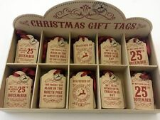 Large Christmas Gift Tag - Vintage Style - Kraft Card Red - 5 designs - PER TAG
