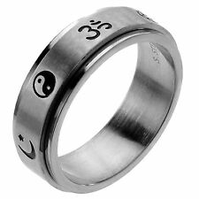 Stainless Steel Spinner / Spinning Ring with Coexist Religious Symbols