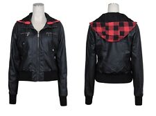 NWT Ashley Black PU Faux Leather Ribbed Hooded Jacket Bomber,Red Plaid,zipper