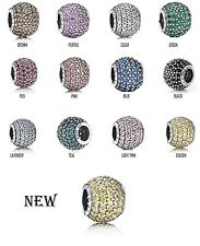 AUTHENTIC PANDORA  CHARM SILVER BEAD PAVE LIGHT 791051