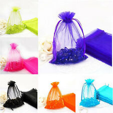 25/50/100pcs Sheer Organza Wedding Party Favor Solid Color Gift Candy Pouch Bags