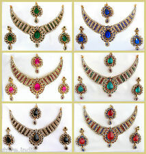 Indian Bollywood Statement Gold Necklace Earring Set Traditional Wedding Jewelry