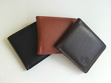 LONDON LEATHERGOODS MENS GENTS REAL LEATHER SLIM BIFOLD WALLET CREDIT CARD NOTE