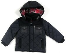 Ex Marks & Spencer Boys Navy Quilted Hooded Zip Popper Lined Jacket Coat NEW!