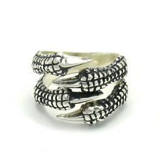 STERLING SILVER RING SOLID 925 CLAWS RAVEN BIKER DRAGON GOTHIC