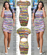 Womens Ladies New Celebs Sam Faiers Tulisa Neon Aztec Bodycon Midi Party Dress