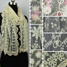 Cotton Embroidery Floral/Geometric Tulle Net Lace Cozy Scarf Shawl Mixed 8 Style