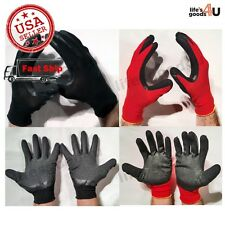 Heavy Duty Rubber Coated Protective Safety Utility Work Grabber Red&Black Glove