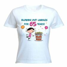 BLOWING OUT CANDLES FOR 65 YEARS 65th BIRTHDAY T-SHIRT - Gift Present -Size S-XL