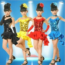 Children Paillette Latin Ballroom Dance Dress Girl Dancewear Costume 4 Colors